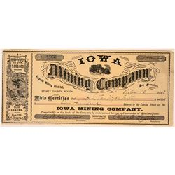 Iowa Mining Co. Stock Certificate  (113267)