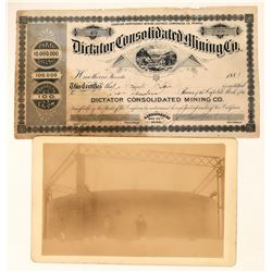 Dictator Cons. Mining Co. Stock & Photo, Hawthorne, Nevada, 1887, Rare  (111936)