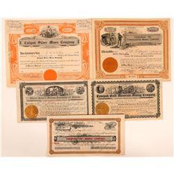 Five Tonopah Mining Stock Signature Pieces  (111647)