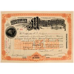 Helen Mining Co. Stock Certificate issued to David Moffat, 1896  (119413)