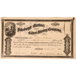 Pittsburgh and Martinez Silver Mining Co Stock Certificate, 1865  (119590)