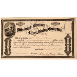 Pittsburgh and Martinez Silver Mining Company Stock Certificate, 1865  (119594)