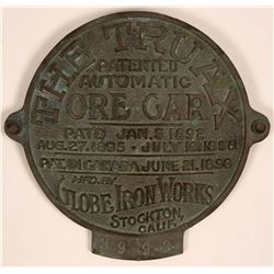 Truax Ore Car Concave Circular Brass Tag  (120054)