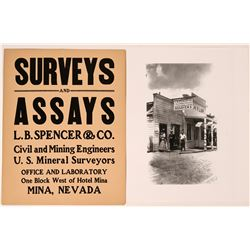 Surveys and Assays Repro Photo and Original Sign from Nevada Ghost Town   (110382)