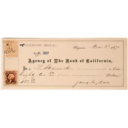 Virginia City Mining Check to Levi Strauss Signed by James G. Fair  (113253)