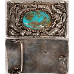 Large Sterling Belt Buckle Set w/Turquoise Stone   (119201)