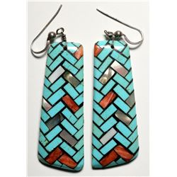 Inlay Earrings by Angie Reano Owens  (119487)