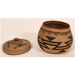 Antique Lidded Hupa  Tobacco Basket  (119991)
