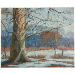 Early Winter Scene in the Meadow - Oil on Canvas by J. La Verne Lane  (80810)