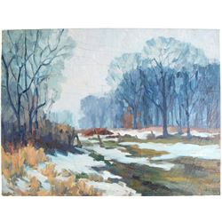 Winter Meadow Scene Oil on Canvas by J. La Verne Lane  (80809)