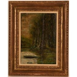 Boat by Tall Trees by George Inness  (117706)