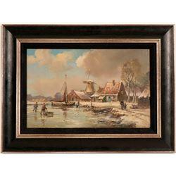 """Frozen Fishing Harbor"", Painting  (117704)"