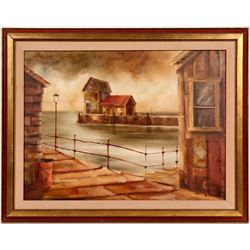 On The Dock, Oil Painting by Robert H. Blair  (104924)