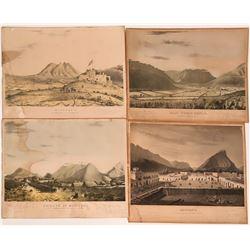 Original 1846 Stone Lithographs of Monterey Mexico  Series of Four  (117738)