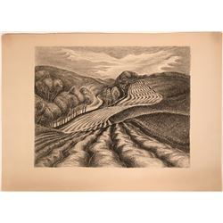 Ploughed Fields by Wanda Gag, American Artists Group lithograph  (116861)