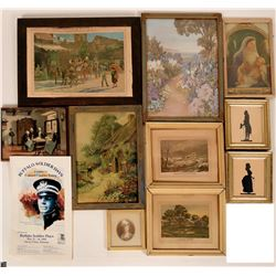 Vintage Framed Mid-Century Wall Art inluding Borghese Sillhouettes (Lot of 11)  (110372)