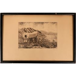 """Pencil-signed Etching, """"The Trail""""  (116034)"""