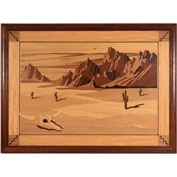 Wood Inlay of Southwest Desert Scene  (117697)