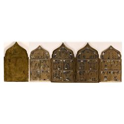 Slovenian 18th Century (?) Folding Traveling Quadptych Christian Alter Set   (116468)