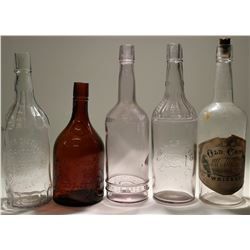 Lot of Five Chicago/St Louis Whiskey Bottles  (119654)