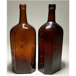 Two J.A. Gilka Red & Brown Scene Bottles  (117942)