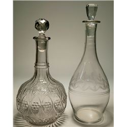 Two Clear Glass Decanters  (117950)