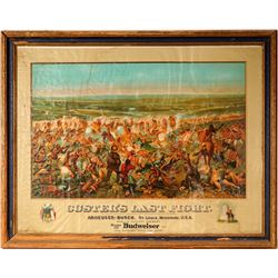 Vintage Beer Advertising: Custer's Last Stand Chromolithograph Print in Original Frame,  Anheuser Bu