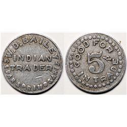 Cedar Springs, AZ Token: W.D. Bailey Indian Trader  (119274)