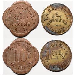 Jerome, AZ Tokens: Yavapai Drug Store and Opewell Tunnel  (119905)
