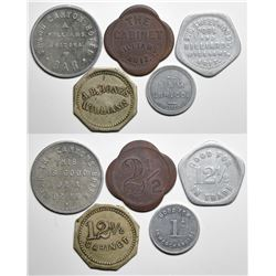 Williams, AZ: Five Post War Tokens incl. Grand Canyon Hotel