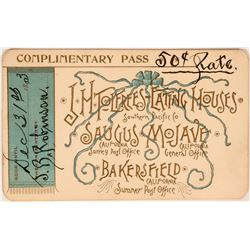 Southern Pacific Co. Pass J. H. Tolfrees Eating Houses  (119149)