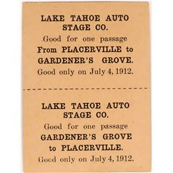Lake Tahoe Auto Stage Co. Good For Token  (119133)