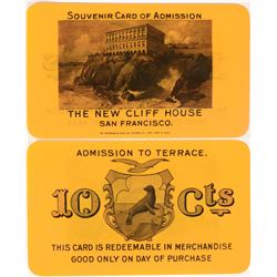 The New Cliff House Admission Card / GF 10cts Token  (119100)