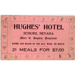 Schurz Hughes' Hotel Meal Ticket  (119689)