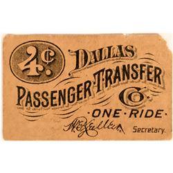 Dallas Passenger Transfer Company Transportation Token  (119060)