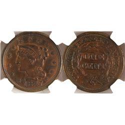 1847 Cent, AU details, NGC  (78453)