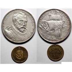 H. Hudson So-Called Dollar & N.Y. Hudson Fulton Medalette (2 pieces)  (120570)