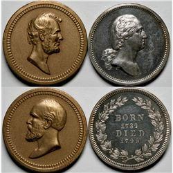 Commemorative Medals Silver & Bronze, Washington, Lincoln, Garfield  (118065)
