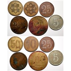 American 'Poker Chip Style' Counters - Seven Different Denominations  (118210)
