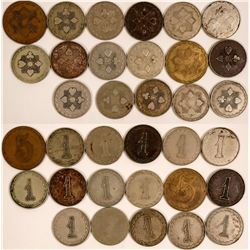 American 'Poker Chip Style' Counters - Seventeen different Variations on the '1' Counter  (118206)