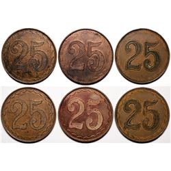 American 'Poker Chip Style' Counters - Three '25' Counters  (118207)