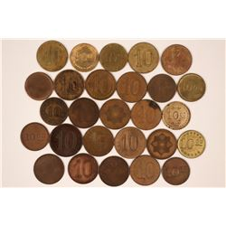 American 'Poker Chip Style' Counters - Twenty-seven Different $10.00 Tokens  (118213)