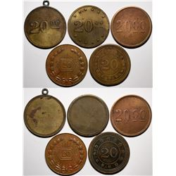 American 'Poker Chip Style' Counters -Five Different '20' counters.  (118212)