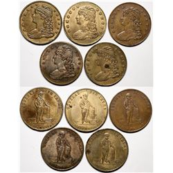 American 'Tom Thumb' Counters - Five Different Liberty / General Tom Thumb tokens.   (118204)