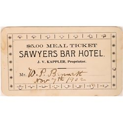 Sawyers Bar Hotel Meal Ticket  (119106)