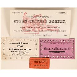 Montana Territorial Token, Letterhead and Meal Tickets  (119098)