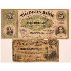 Virginia Traders Bank Of The City Of Richmond $5 Rare Old Banknote  (117350)
