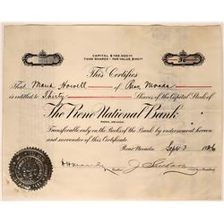 The Reno National Bank Stock Certificate  (117573)