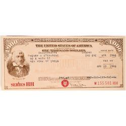 $1000 Savings Bond - Rare High Denomination!  (119406)