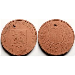 Wooden Souvenir Medal from Centennial Expo of 1876  (118838)